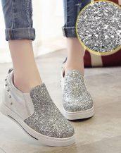 gümüş simli ve zımbalı gizli topuk ayakkabı sk21378