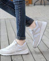 gri rahat taban bağcıklı spor ayakkabı sk21495