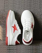 kırmızı beyaz yıldız desenli yüksek taban spor ayakkabı sk21696