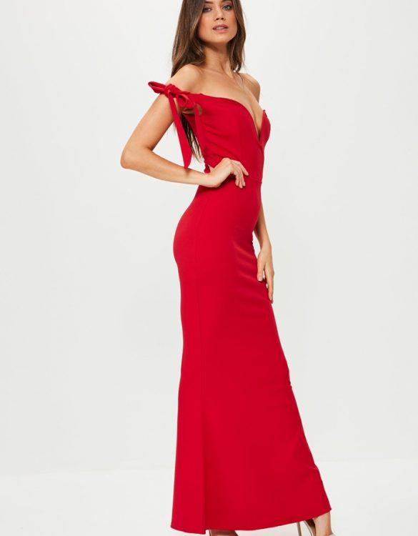 kırmızı düşük omuzlu uzun elbise sk21125