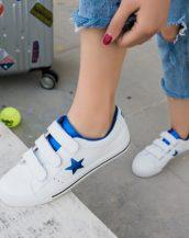 mavi beyaz 3 bantlı deri spor ayakkabı sk21667