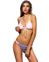 pembe örgü detaylı bikini sk21253
