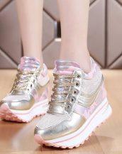 pembe parlak bağcıklı gizli topuk ayakkabı sk21472