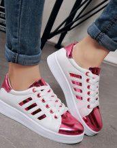 pembe parlak bağcıklı spor ayakkabı sk21508