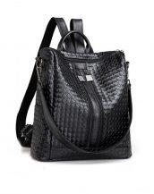 siyah çift fermuarlı deri sırt çantası sk21647