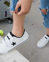 siyah beyaz 3 bantlı deri spor ayakkabı sk21667