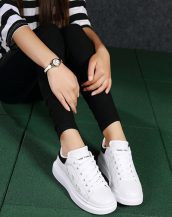 siyah beyaz lazer kesim kalın taban spor ayakkabı sk21480