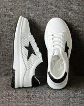 siyah beyaz yıldız desenli yüksek taban spor ayakkabı sk21696