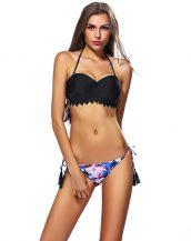 siyah boyundan bağlamalı düşük bel bikini sk21268
