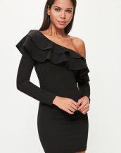 siyah düşük omuz fırfırlı mini elbise sk21135