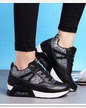 siyah gizli topuk payetli spor ayakkabı sk21524