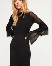 siyah kolları tül detaylı elbise sk21087