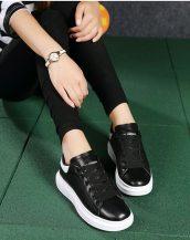 siyah lazer kesim kalın taban spor ayakkabı sk21480
