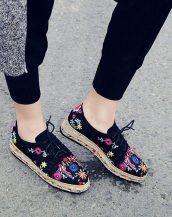 siyah nakışlı süet espadril ayakkabı sk21404