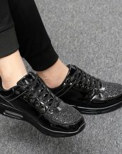 siyah parlak simli gizli topuk spor ayakkabı sk21388