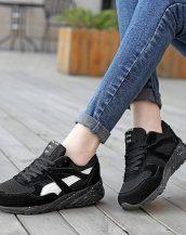 siyah rahat taban bağcıklı spor ayakkabı sk21495