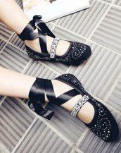 siyah taş işlemeli süet balerin ayakkabısı sk20902