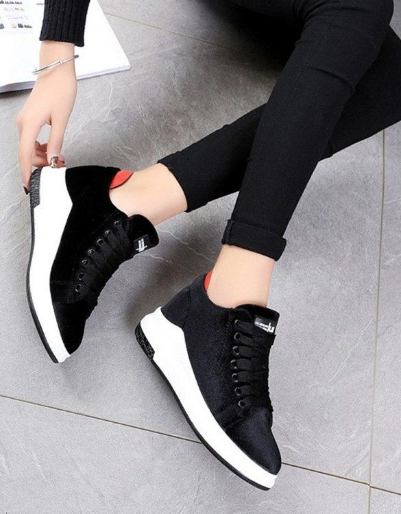 siyah yüksek taban kadife ayakkabı sk21720