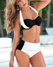yüksek bel siyah beyaz destekli bikini sk21186