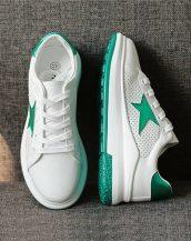 yeşil beyaz yıldız desenli yüksek taban spor ayakkabı sk21696