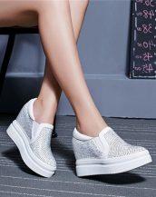 beyaz gizli topuk taşlı deri ayakkabı sk22123