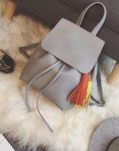 gri püskül detaylı deri sırt çantası sk22479