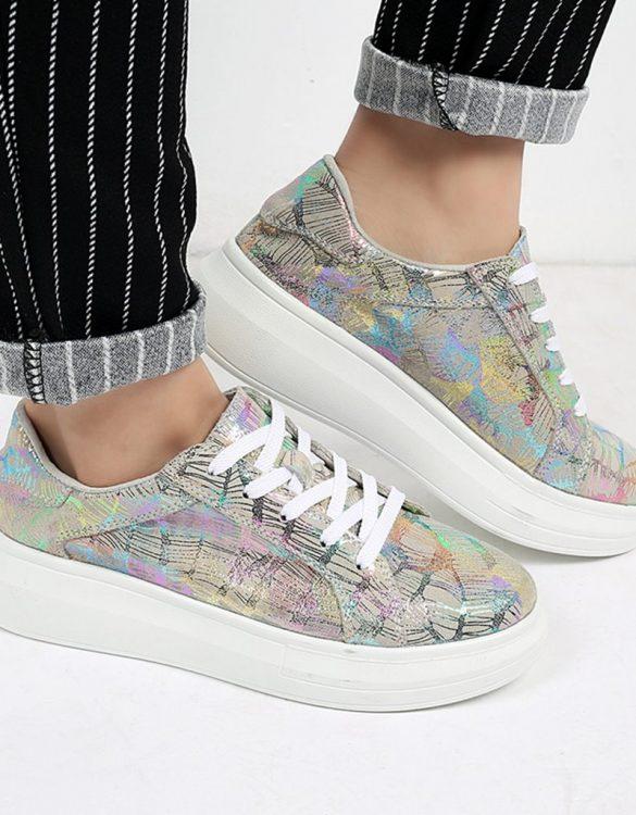 gri yüksek taban desenli ayakkabı sk22161