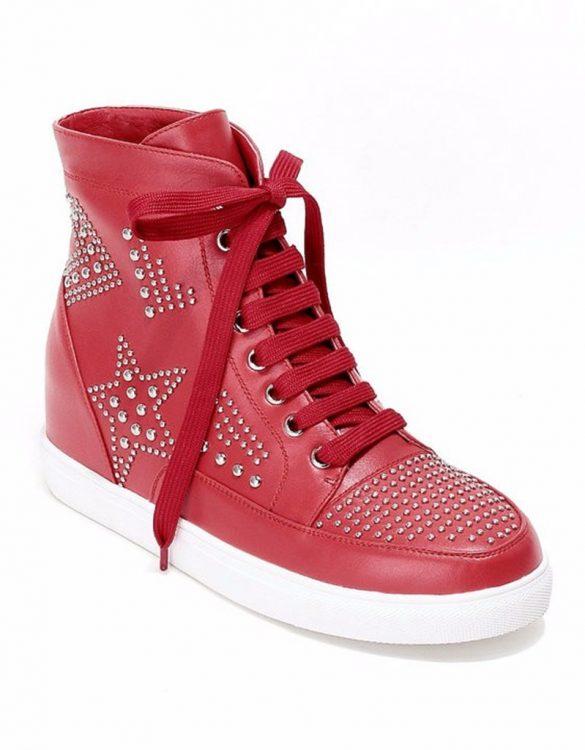 kırmızı gizli topuk zımbali sneaker sk22176
