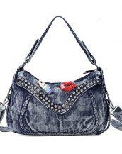 mavi zımba ve aksesuar detaylı kot çanta sk22399