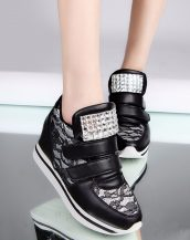 siyah gizli topuk parlak taşlı ayakkabı sk22109