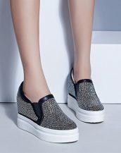siyah gizli topuk taşlı deri ayakkabı sk22123