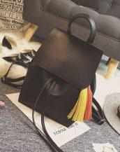 siyah püskül detaylı deri sırt çantası sk22479