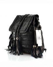 siyah püsküllü deri sırt çantası sk22380