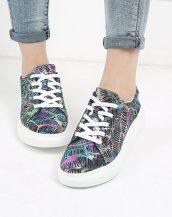 siyah yüksek taban desenli ayakkabı sk22161