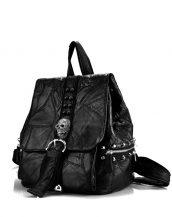 siyah zımba ve kuru kafa detaylı sırt çantası sk22420