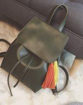 yeşil püskül detaylı deri sırt çantası sk22479