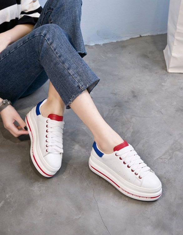 beyaz mavi bağcıklı yüksek taban spor ayakkabı sk23435