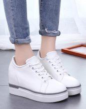 beyaz platform gizli topuk bağcıklı ayakkabı sk23399