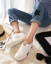beyaz zincir detaylı yuvarlak burun ayakkabı sk23218