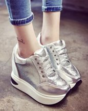 gümüş payetli platform gizli topuk ayakkabı sk23245