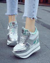 gümüş simli yüksek taban gizli topuk ayakkabı sk23342