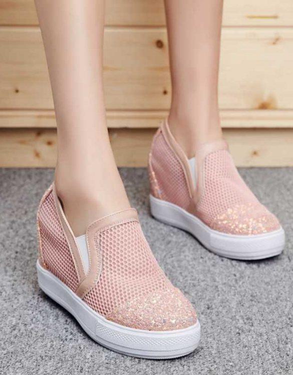pembe payetli gizli topuk yazlık ayakkabı sk23232