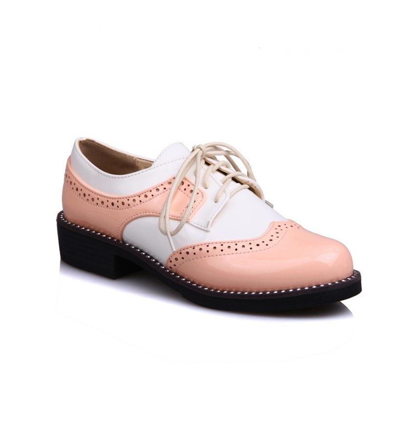 pudra beyaz rugan oxford ayakkabı modelleri sk23280