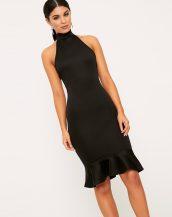 siyah boğazlı kolsuz gece elbisesi sk22941