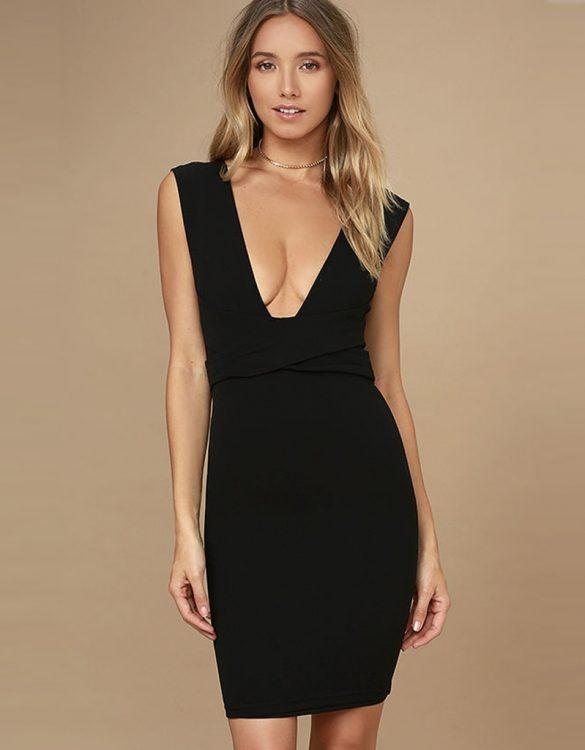siyah göğüs dekolteli arkadan kurdeleli elbise sk22877