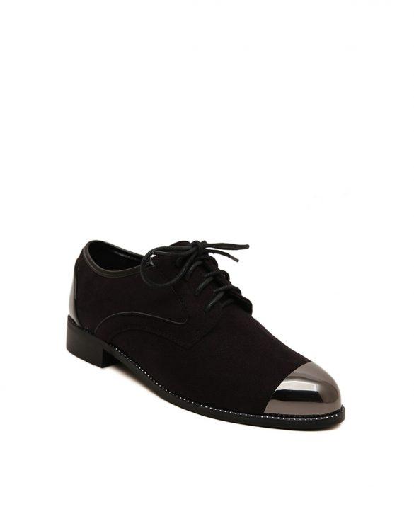siyah parlak burun süet oxford ayakkabı sk23453