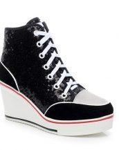 siyah payetli dolgu topuk spor sneaker sk23252