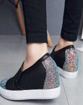siyah payetli gizli topuk yazlık ayakkabı sk23232