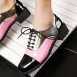 siyah pembe rugan bağcıklı bayan oxford ayakkabı sk23264