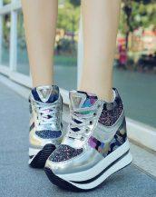 siyah simli yüksek taban gizli topuk ayakkabı sk23342